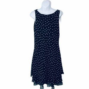 Jones Wear Polka Dot Ruffled Hem Sleeveless Dress